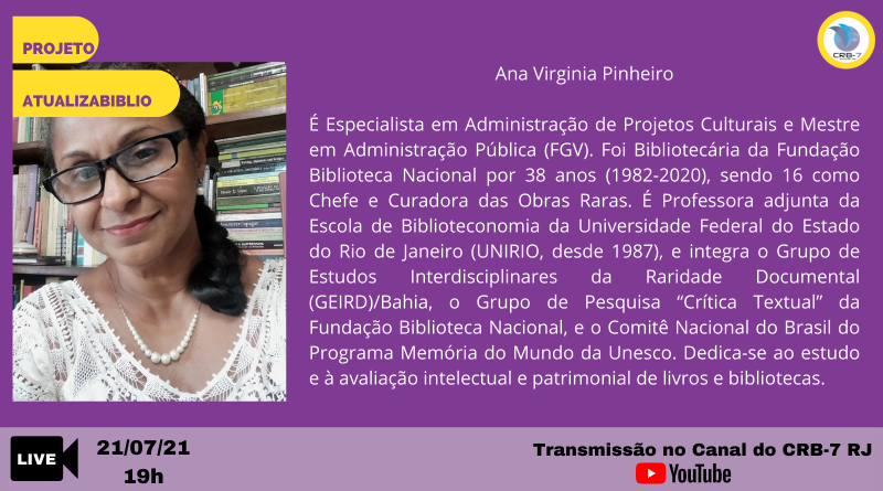 Projeto AtualizaBiblio – Live com a Profª. Ma. Ana Virgínia